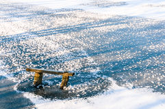 A pond covered in a thin layer of ice Royalty Free Stock Photography