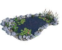 Pond. 3d illustration of a pond Royalty Free Stock Image
