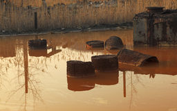 The pond of death. Image of a pond with very toxic industrial drosses. Location: Copsa Mica,Romania, a town which in 1990 was known as one of the most poluted royalty free stock image