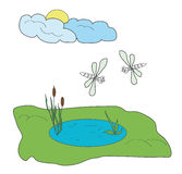 The pond with the dragonflies. A small pond in a verdant meadow with two dragonflies, clouds and sun Stock Photos