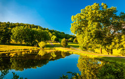 Pond and driveway to a farm in the Shenandoah Valley, Virginia. Stock Image