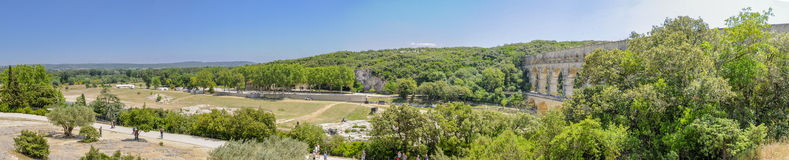 Pond Du Gard, France, Panorama showing downstream to the Aqueduct Royalty Free Stock Image