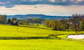 Pond and fields on a farm in rural York County, Pennsylvania. Royalty Free Stock Images