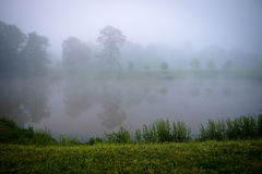 Pond with Fog. At Victor Ashe Park, Knoxville, Tennessee Royalty Free Stock Images