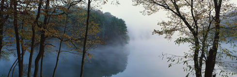 Pond with fog Royalty Free Stock Photos