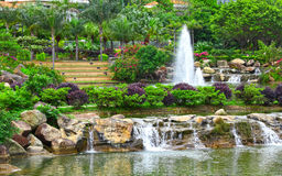 Pond and fountain Stock Photography