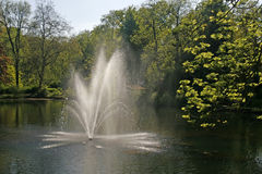 Pond with fountain, Germany Royalty Free Stock Images