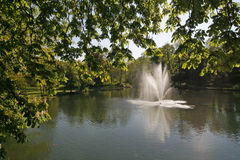 Pond with fountain in Lower Saxony, Germany Royalty Free Stock Images