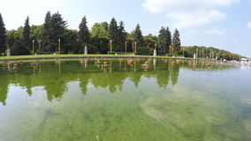 Pond with fountain in park stock footage
