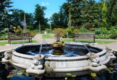 Pond with Fountain in Public Park. Beautiful pond with fountain in public park, with walkway and garden Royalty Free Stock Photos