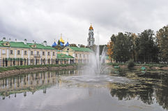 Pond with fountain in Sergiev Posad, Russia Stock Photography