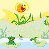 Pond with frogs Royalty Free Stock Image