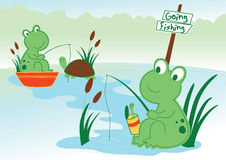 Pond frogs. Vector illustration of pond frogs fishing Stock Photo