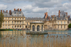 Pond in front of Fontainebleau Stock Images