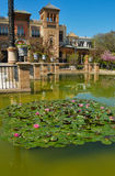 Pond in front of Mudejar pavilion. Mudejar Pavilion built for the Ibero-American Exposition of 1929 at Seville, Spain Royalty Free Stock Photos