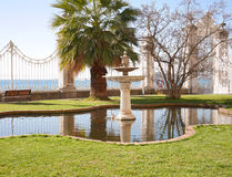 Pond in a garden at Dolmabahce Palace, Istanbul royalty free stock photography