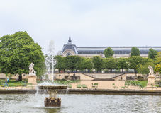 Pond in the garden of the Tuileries. D`Orsay Museum.  Paris Royalty Free Stock Image