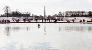 Pond (Grand Basin Octagonal) in Tuileries Garden, Paris Royalty Free Stock Photo
