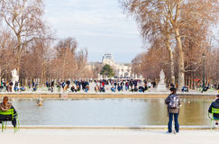 Pond (Grand Basin Octagonal) in Tuileries Garden, Paris Royalty Free Stock Photos
