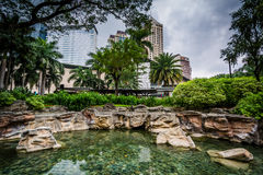 Pond at Greenbelt Park, Makati, Metro Manila, The Philippines. royalty free stock image