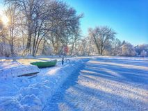Pond hockey. Winter time in Latvia, ready for some fresh air Stock Image