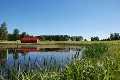 Pond and House royalty free stock photos