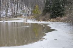Pond with ice at edges royalty free stock photography