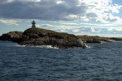 Pond Island Lighthouse, Phippsburg Maine. Nobody knows why this lighthouse is called `Pond` Island Lighthouse. There are no ponds anyway near this lighthouse stock image