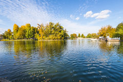 Pond with islands in autumn park Stock Image