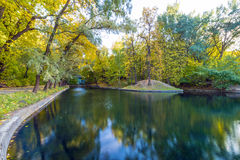 Pond with islands in autumn park Royalty Free Stock Photography