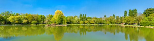 Pond at the Javarzay Castle in Chef-Boutonne - Deux-Sevres, France Stock Photography