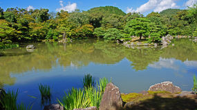 Pond of Kinkaku ji, golden temple in Kyoto Royalty Free Stock Photo