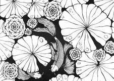 Pond with Koi Carps stock illustration