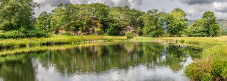 A panorama view of a pond or lake with trees and fields. royalty free stock photo