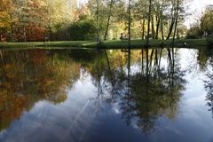 Pond landscape in autumn, Bad Iburg, Osnabrueck country, Lower Saxony, Germany. Europe Royalty Free Stock Image