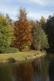 Pond landscape in autumn, Bad Iburg, Osnabrueck country region, Lower Saxony, Germany. Europe Royalty Free Stock Image