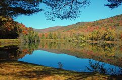 Pond landscape reflection. Reflections in a pond during fall foliage season in Vermont Royalty Free Stock Photo