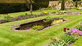 Pond in landscaped garden Stock Photo
