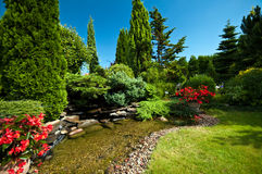 Pond in landscaped garden. Scenic view of ornamental pond in landscaped garden Royalty Free Stock Photos