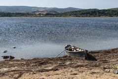 Pond in Languedoc-Roussillon and boat Royalty Free Stock Photo