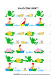 Pond life themed educational logic game - sequential pattern recognition Stock Photo