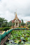 Pond of lotus in front of crematorium Royalty Free Stock Photography