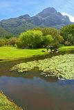 Pond, meadow, misty mountains Royalty Free Stock Images