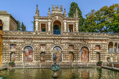 Pond of Mercury in Alcazar of Seville, Spain stock photography
