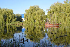 Pond with model of a wooden sailing vessel in Kaliningrad Stock Image