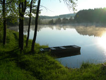 Pond and the morning mist Royalty Free Stock Photos