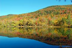 Pond mountain reflections. Mountains and trees reflect in a pond during fall foliage season in Vermont Stock Photos