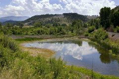 Pond, Mountains and Green in Helena Montana Stock Photos
