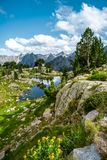 Pond near the shelter of Amitges, Parc Nacional de Aiguestortes. Pyrenees, Lleida, Catalonia stock image