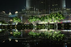 Pond near the tower BurjDubai Stock Photo